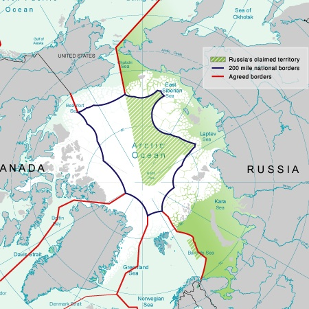 I confini attuali tra le regioni dell'Artico rivendicate dai vari stati (fonte: Wikimedia)