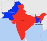 Separazione del Pakistan 1947; secessone del Bangladesh 1971