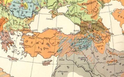 Mappa etnica dell'Anatolia nel 1914. In blu le zone abitate dagli armeni (Fonte: Wikipedia)