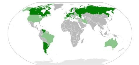 In verde scuro gli stati che riconoscono completamente il genocidio armeno; in verde chiaro gli stati in cui lo riconoscono le amministrazioni locali (Fonte: Wikipedia)